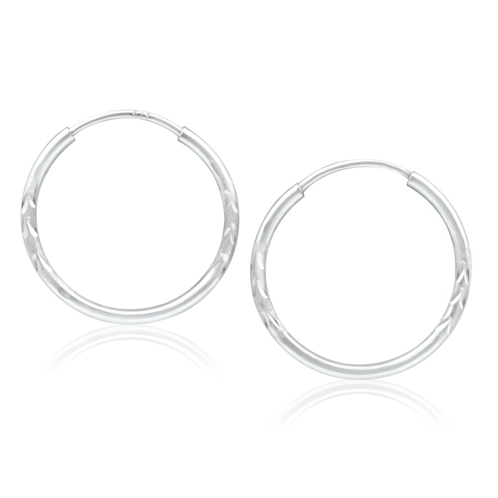 9ct White Gold Hoop Earrings in 15mm with diag line feature