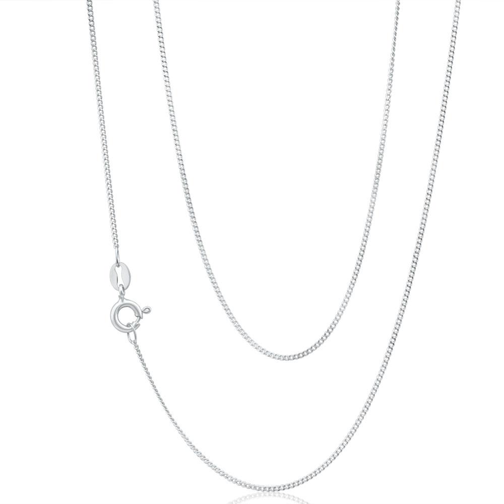 9ct White Gold  Diamond Cut 45cm Curb Chain