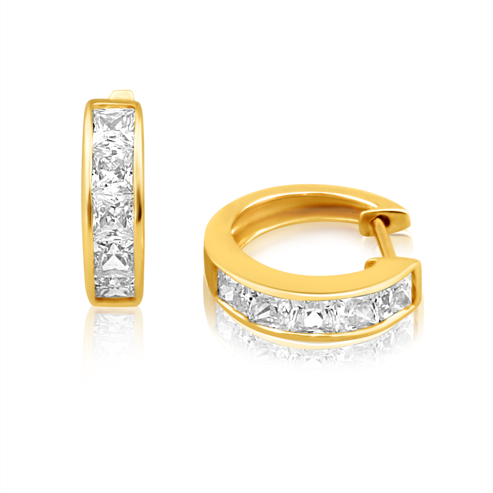 9ct Charming Yellow Gold Cubic Zirconia Channel Set Hoop Earrings