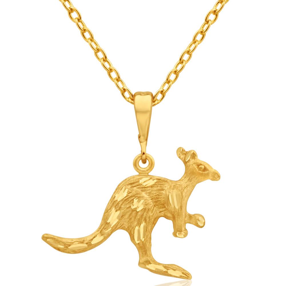 9ct Yellow Gold Kangaroo Pendant