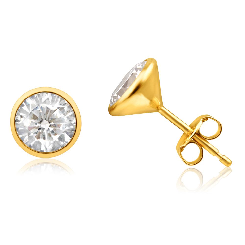 9ct Yellow Gold Cubic Zirconia 7mm Bezel Set Stud Earrings