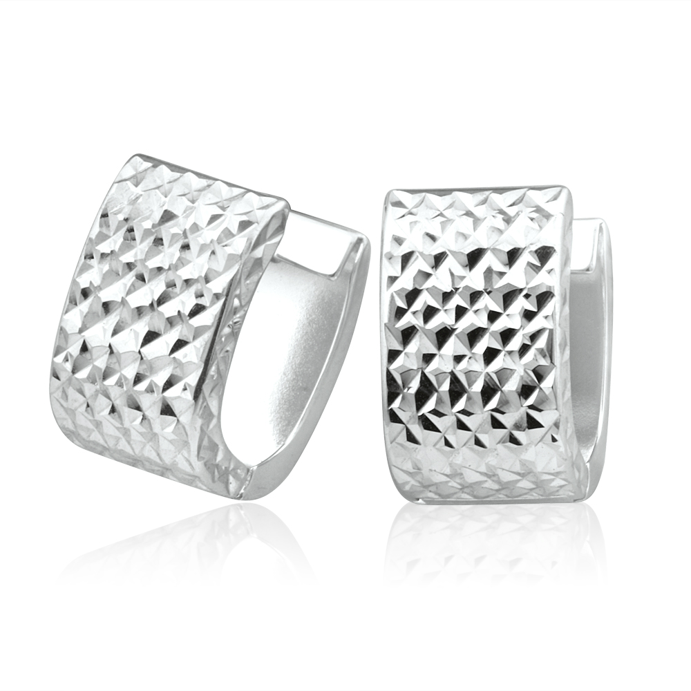 9ct White Gold Hoop Huggie Earrings with cutting for a sparkle
