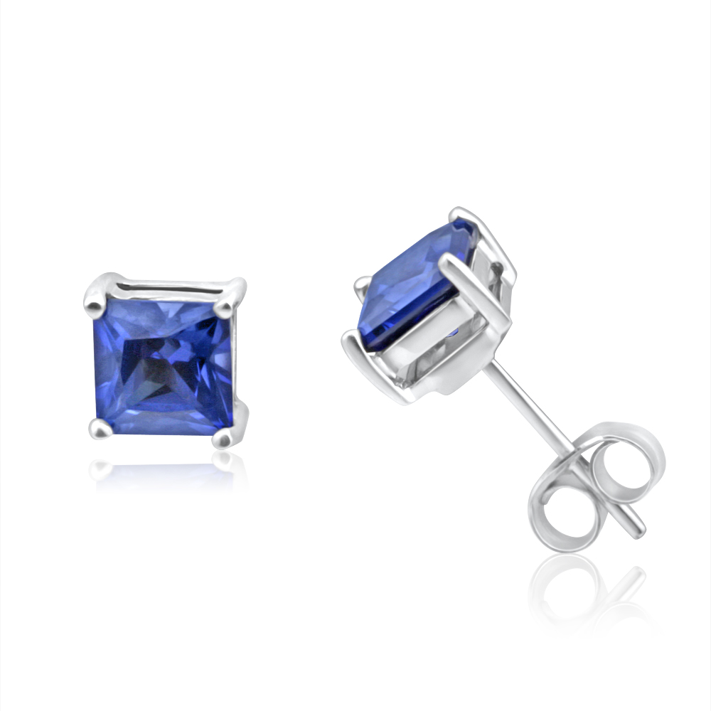 9ct White Gold Created Sapphire Princess Cut 5mm Stud Earrings