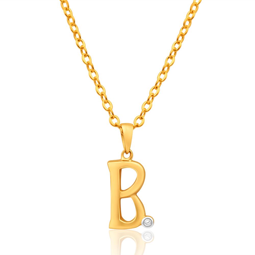 9ct Yellow Gold Pendant Initial B set with diamond
