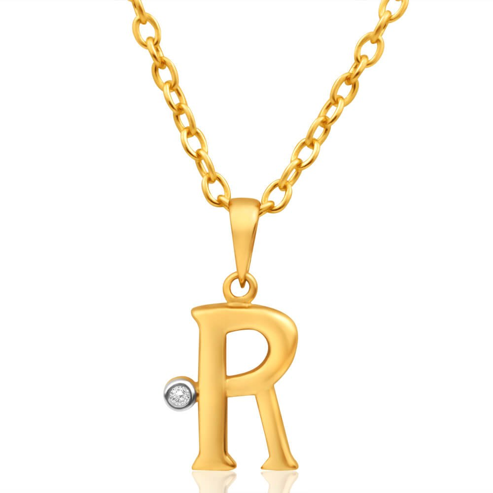 9ct Yellow Gold Pendant Initial R set with diamond