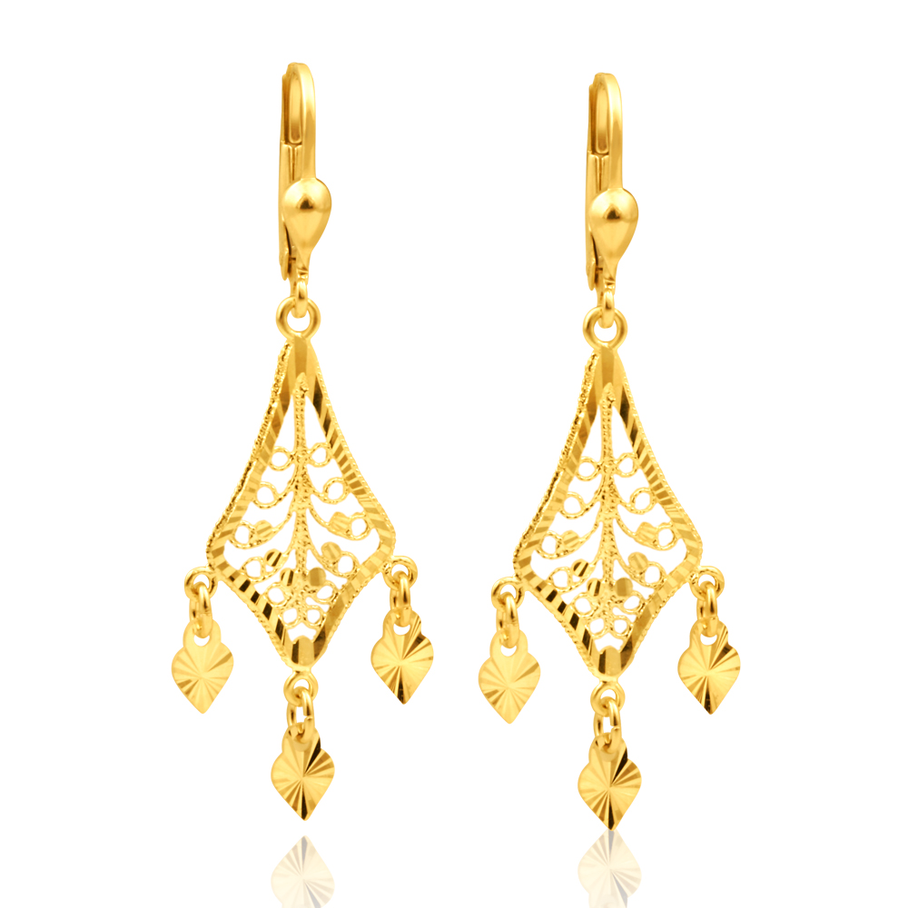9ct Yellow Gold Chandelier Drop Earrings