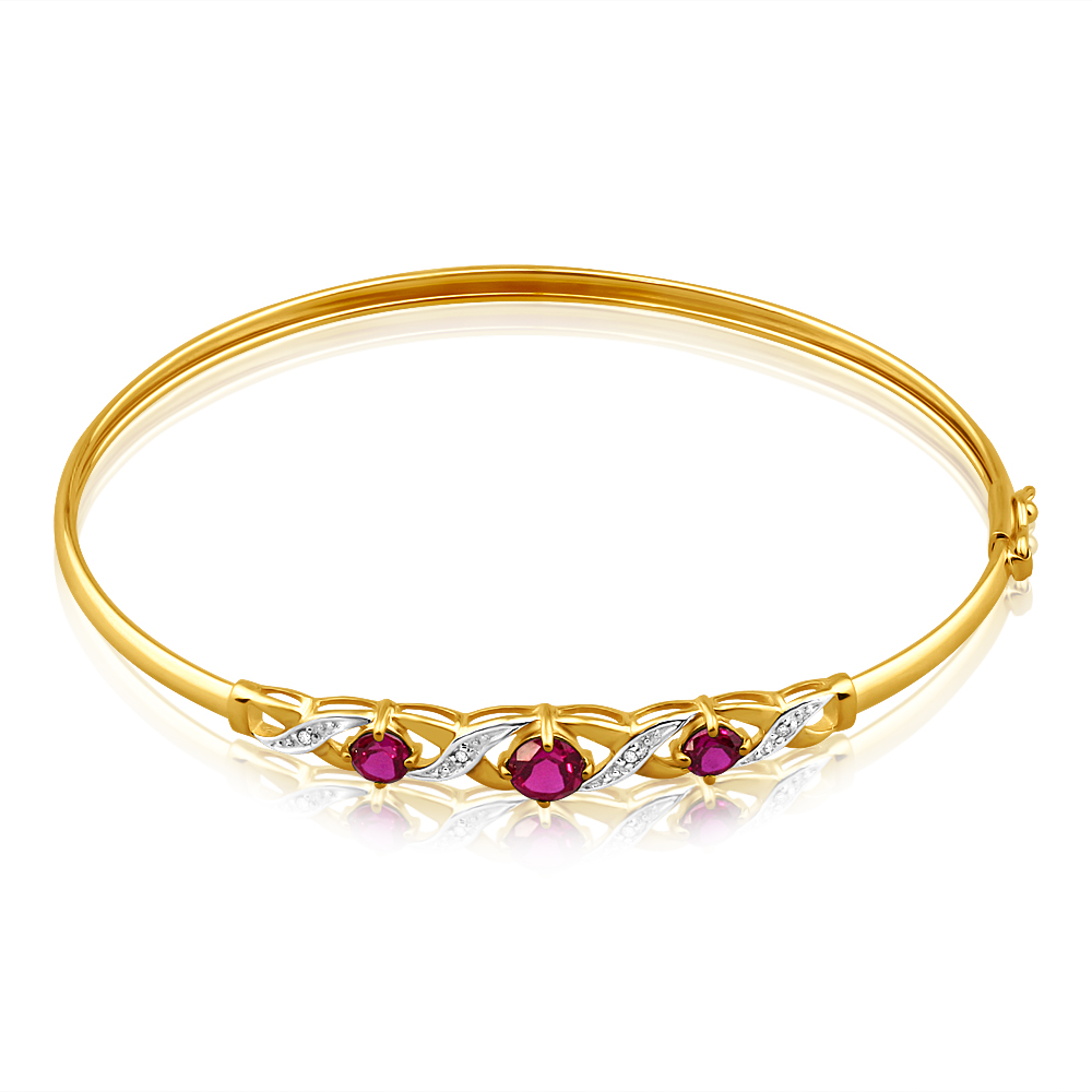 9ct Alluring Yellow Gold Created Ruby + Diamond Bangle