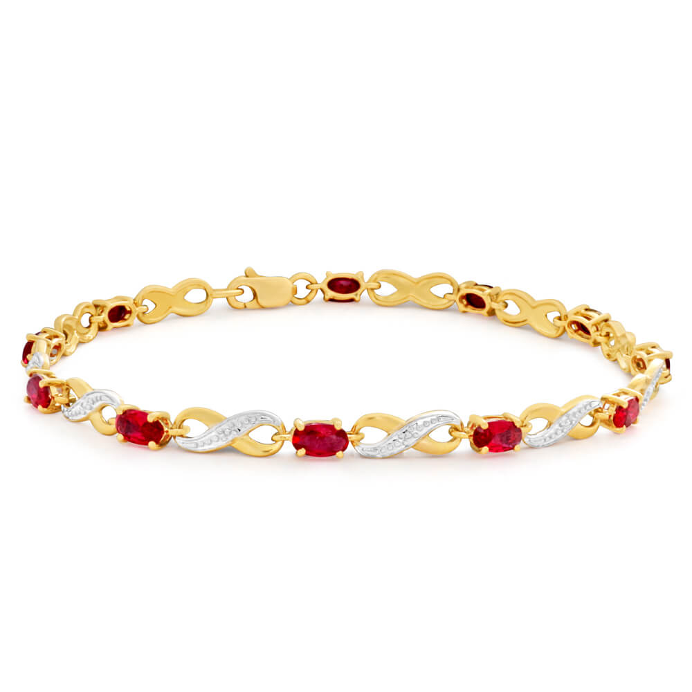 9ct Yellow Gold Created Ruby and Diamond 18cm Infinity Bracelet