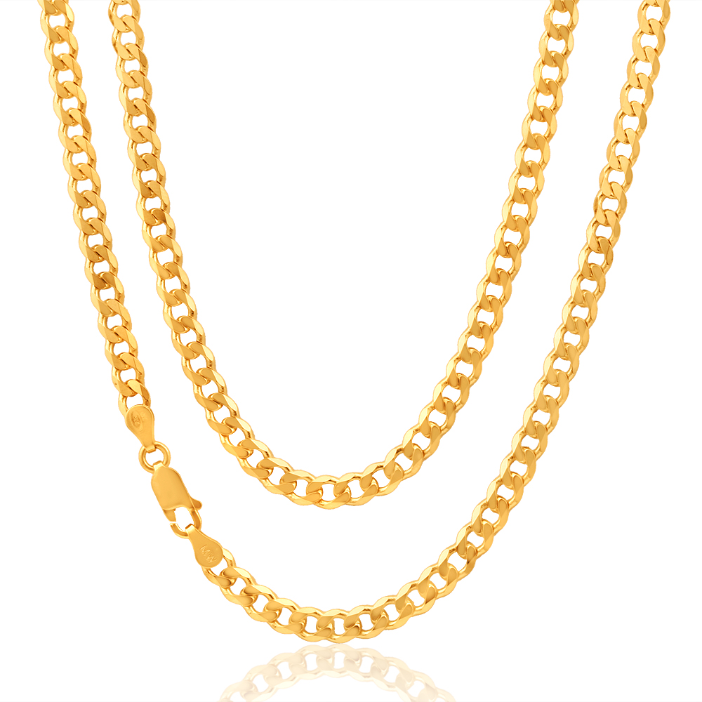 9ct Yellow Gold Curb 50cm Chain 120 Gauge