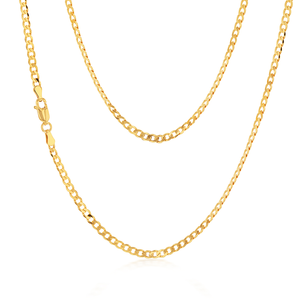 9ct Yellow SOLID Gold Curb Chain 80 gauge in 55cm