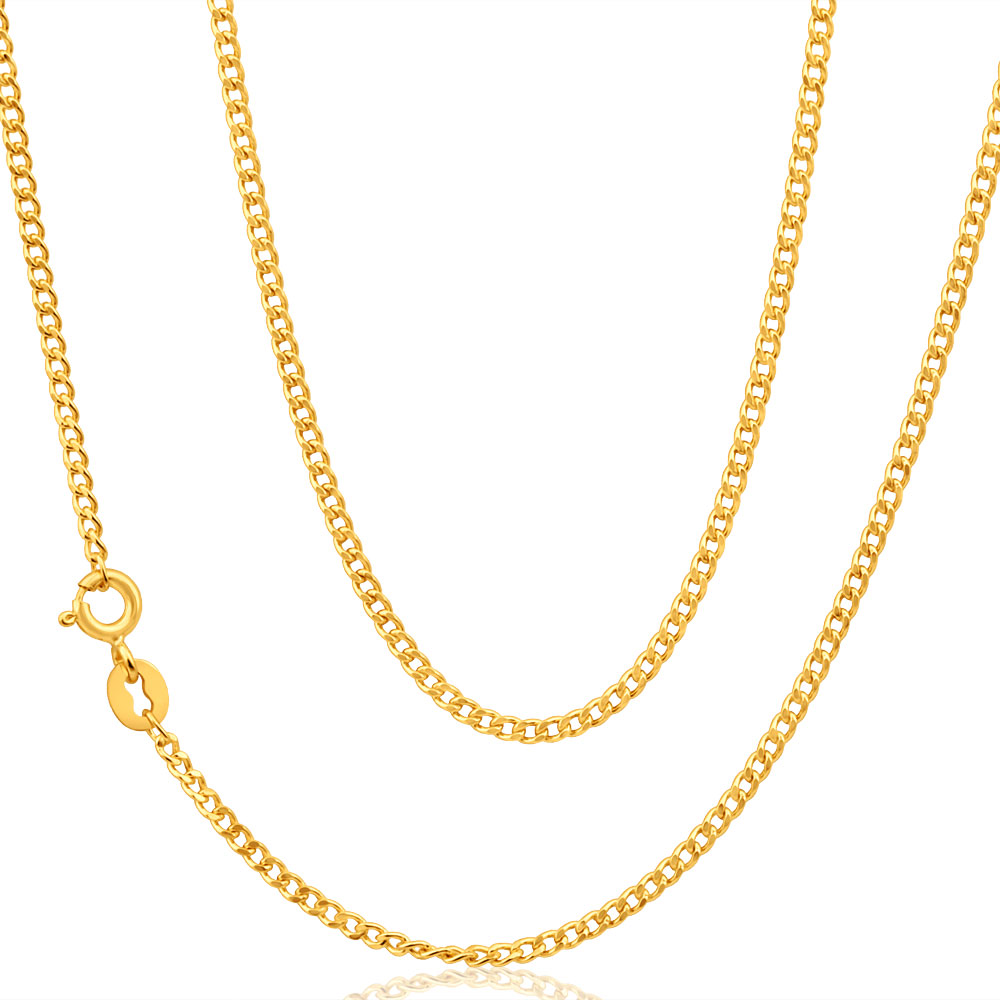 9ct Yellow Gold Curb Chain in 45cm 50 Gauge