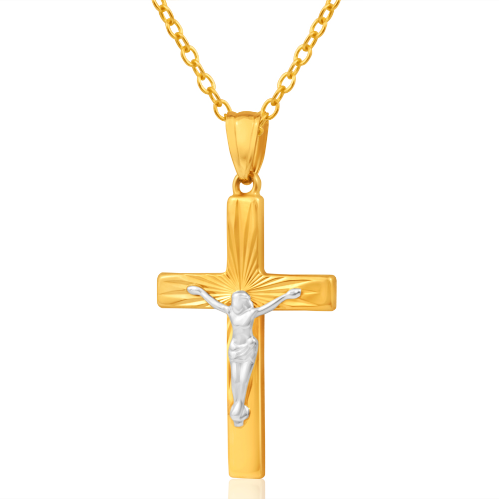 9ct Yellow Gold & White Gold Crucifix Pendant with Diamond cutting