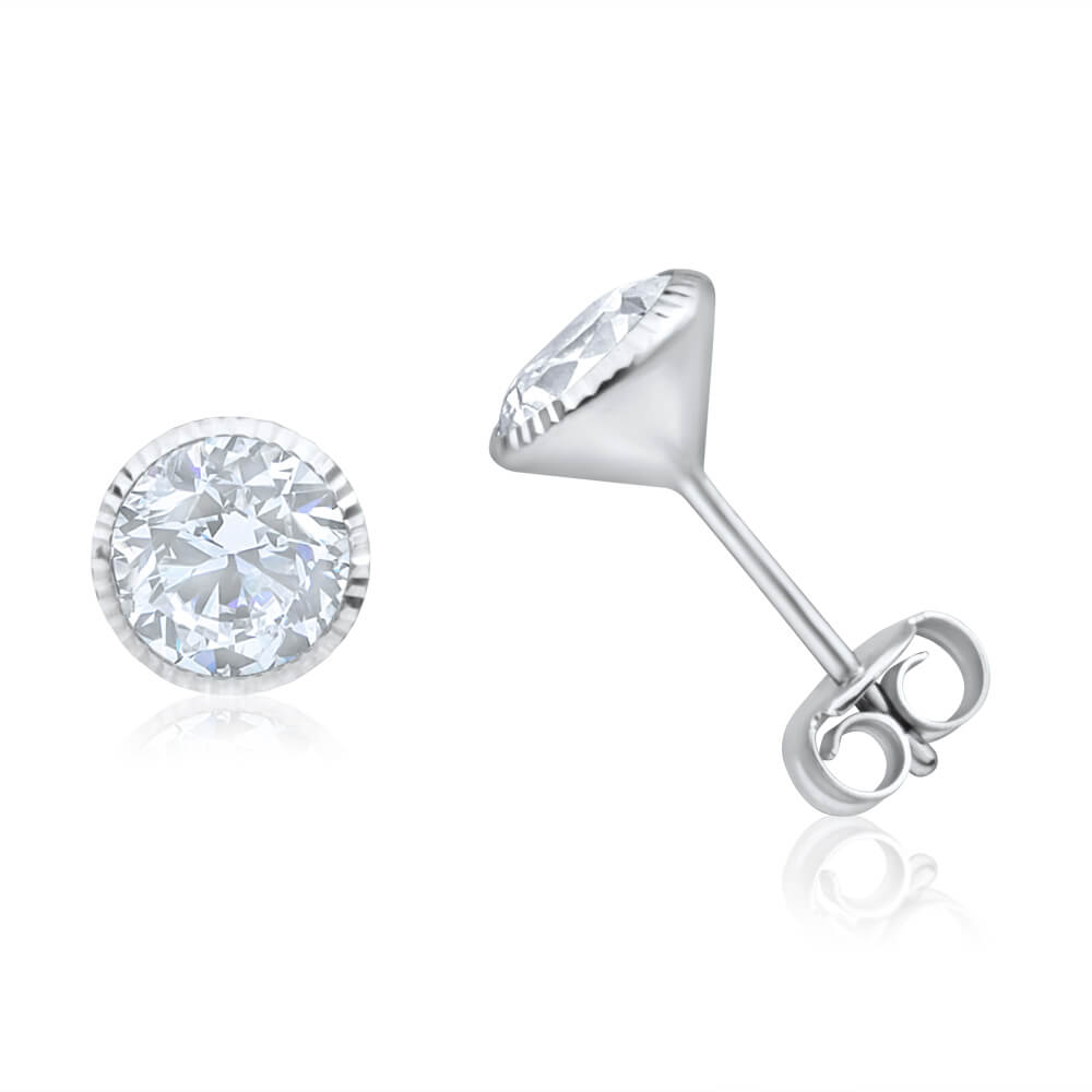 9ct White Gold 6mm Cubic Zirconia Stud Earrings