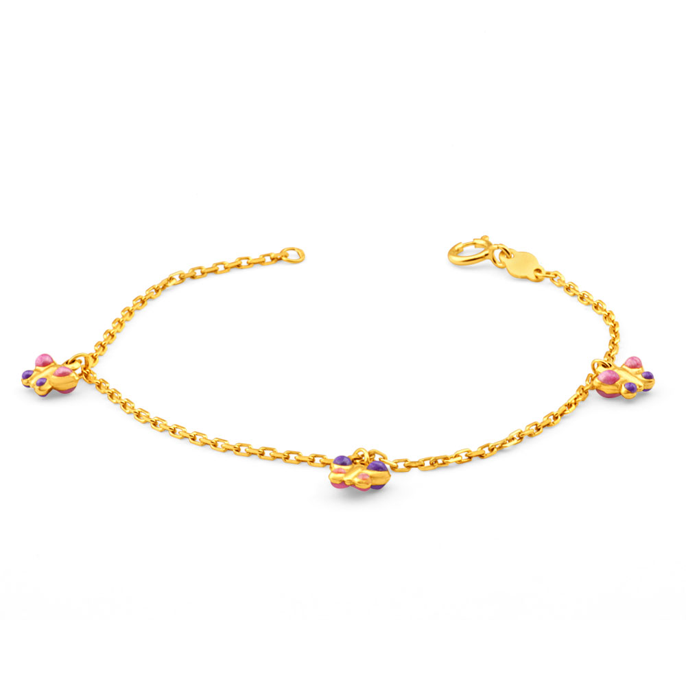 9ct Yellow Gold Pink and Purple Enamel Butterfly Baby 14cm Bracelet