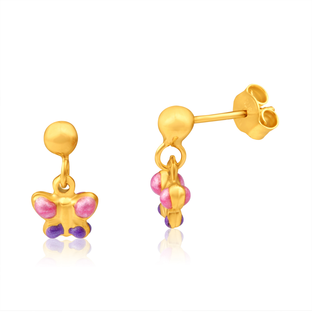 9ct Yellow Gold Butterfly Baby Drop Stud Earrings