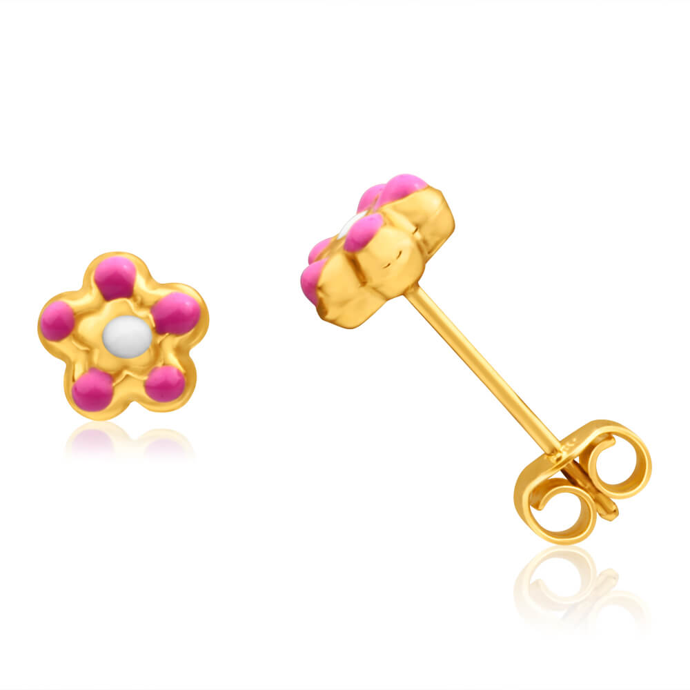 9ct Yellow GoldPink Flower Baby Stud Earrings