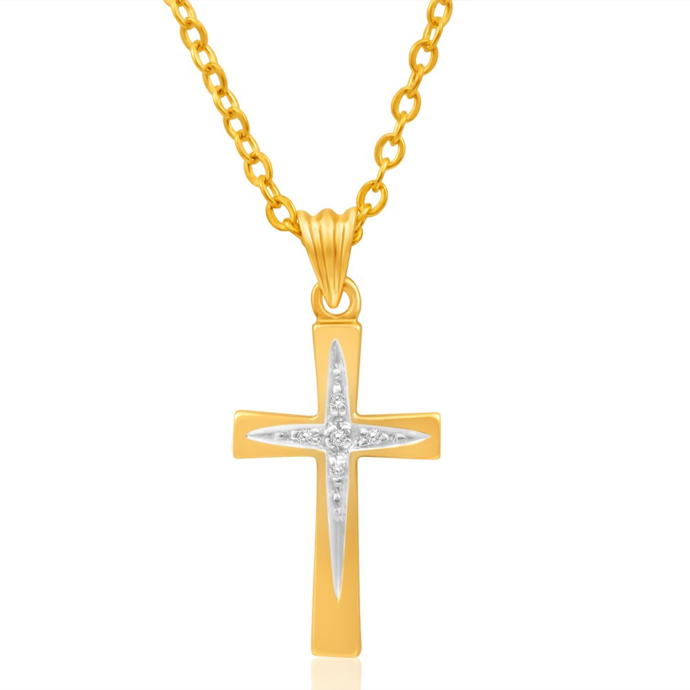 9ct Yellow Gold Cross Diamond Pendant