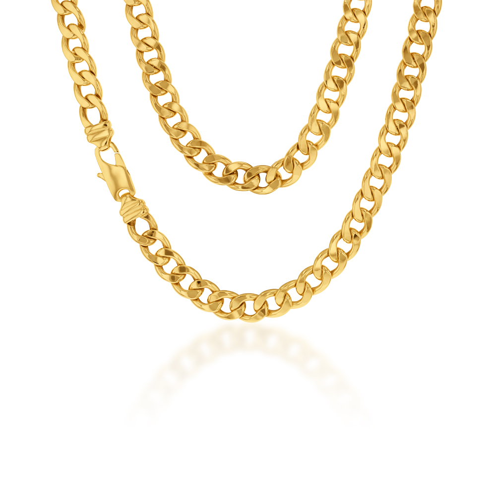 9ct Yellow Gold Copper Filled Flat Curb 55cm Chain 250Gauge