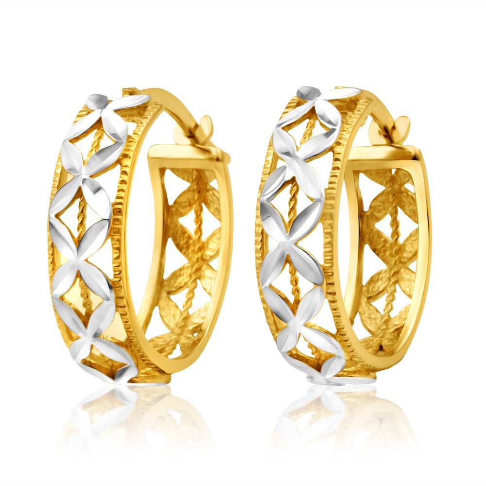9ct Yellow Gold & White Snowflake Features Hoop Earrings