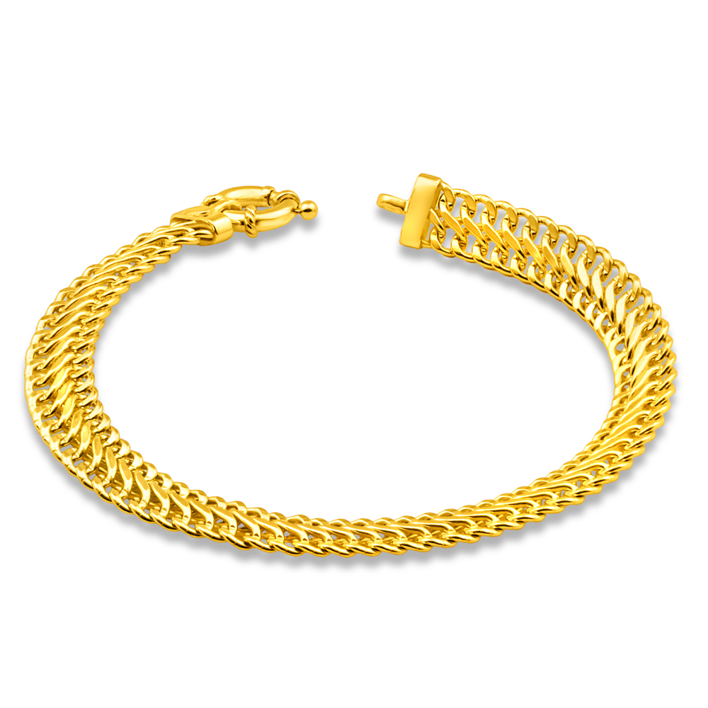 9ct Yellow Gold Copper Filled Mesh 19cm Bracelet 100Gauge with a Boltring