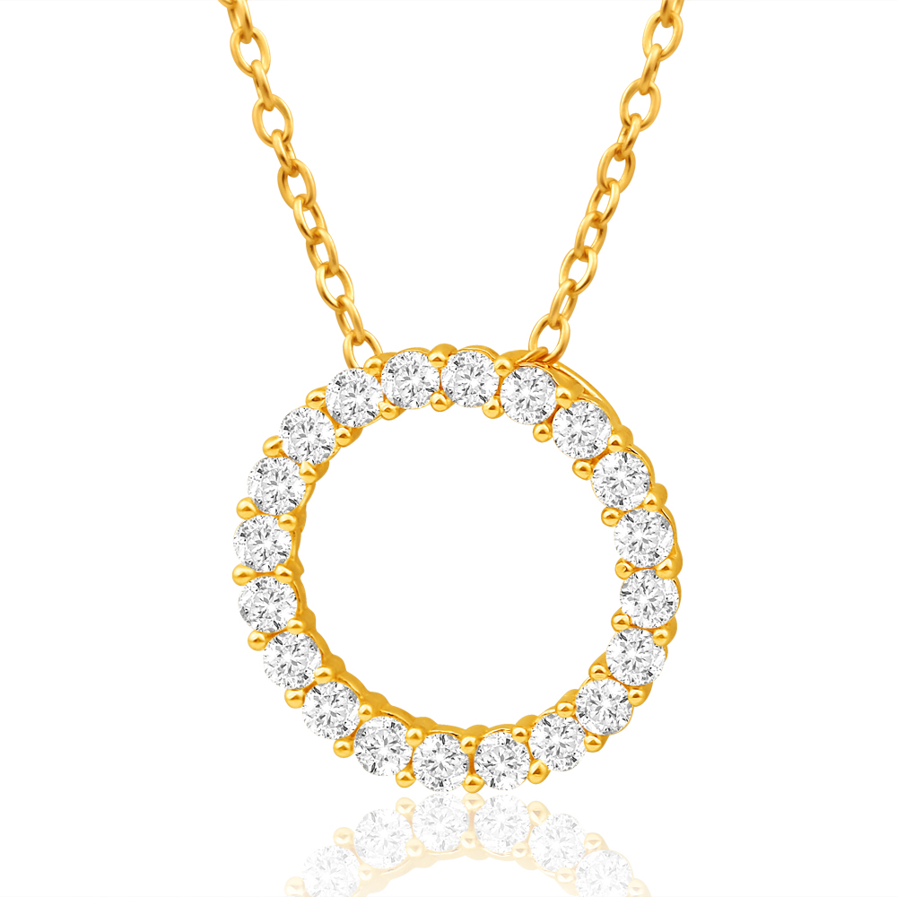 9ct Yellow Gold Refined Cubic Zirconia Pendant