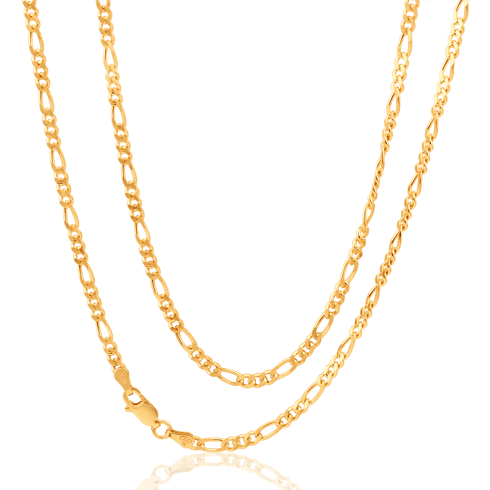 9ct Yellow Gold Figaro Chain 70cm in 80 Gauge