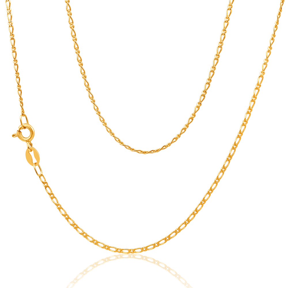 9ct Yellow Gold Figaro 1:1 Chain 45cm in 40Gauge