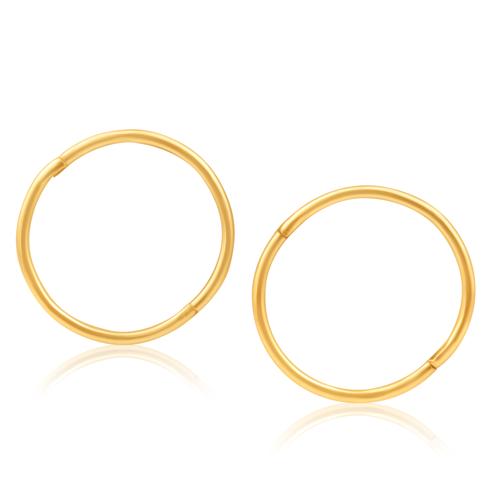 9ct Yellow Gold Plain 16mm sleepers  Earrings