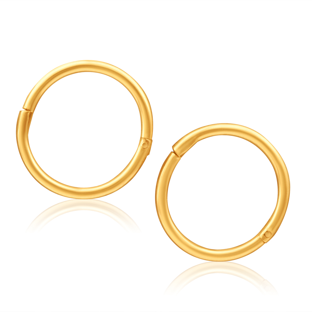 9ct Yellow Gold Sleeper Plain Baby 8mm Earrings