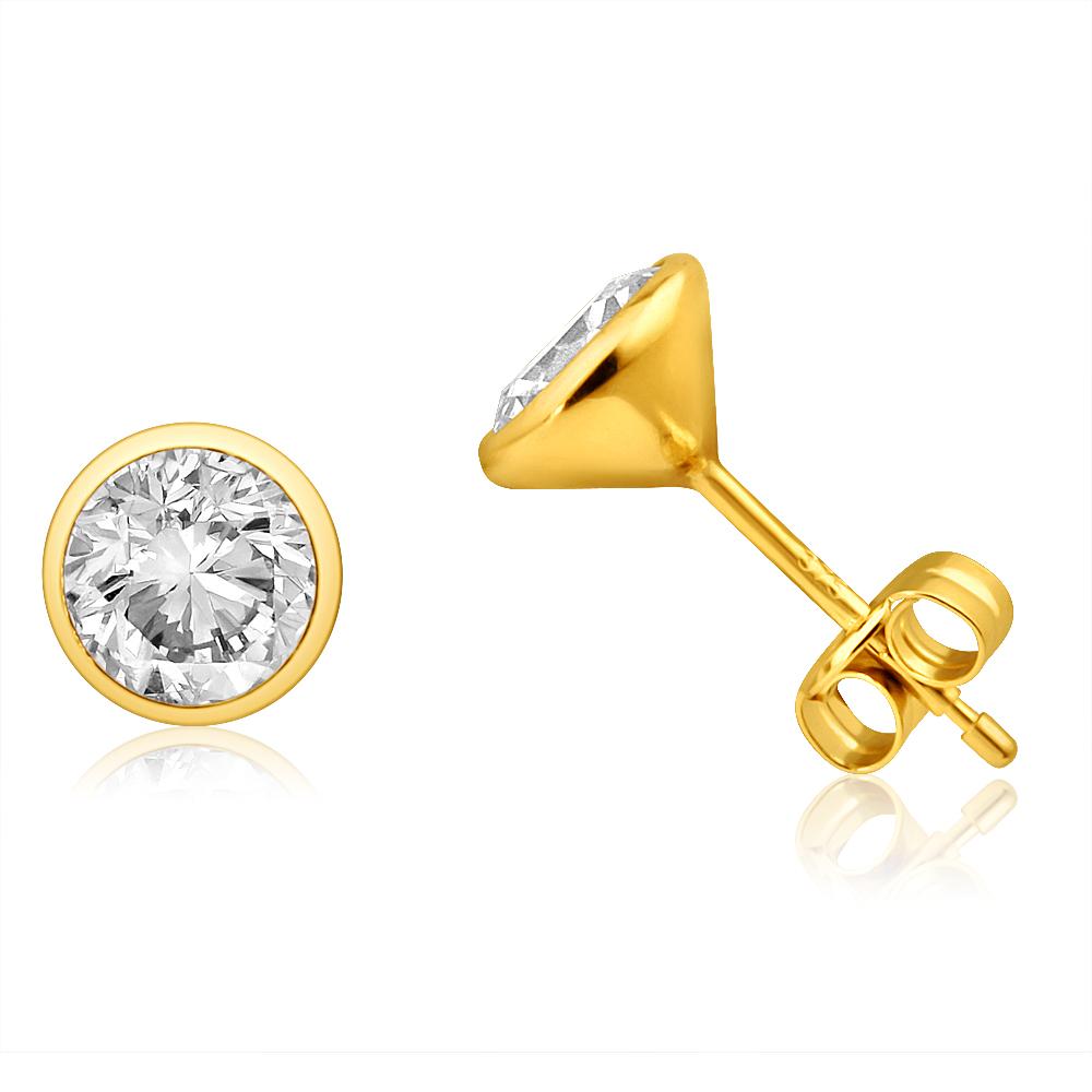 9ct Yellow Gold Bezel Set 6mm Cubic Zirconia Stud Earrings