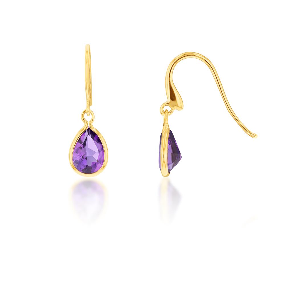 9ct Yellow Gold Amethyst Pear Drop Earrings