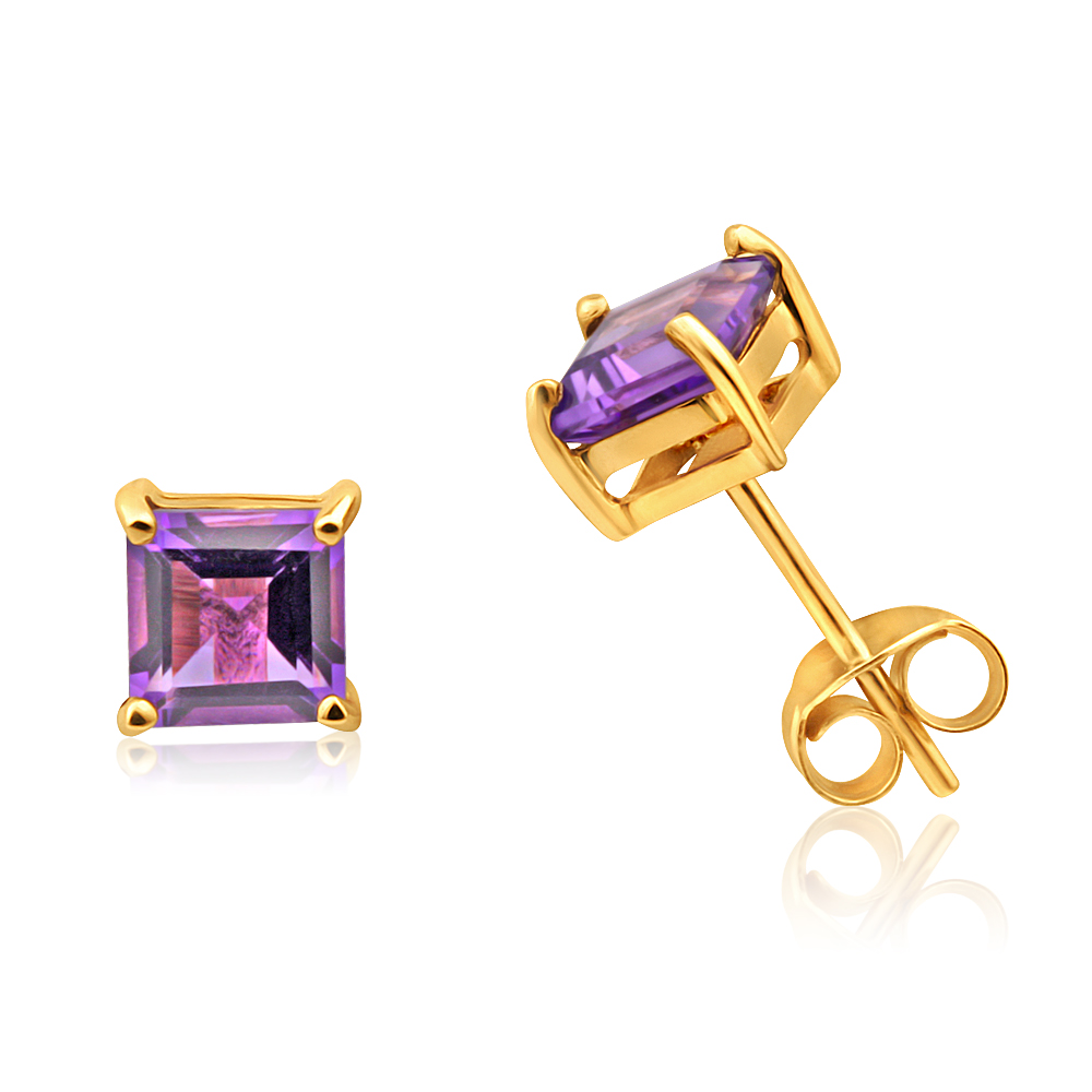 9ct Yellow Gold Amethyst Princess Cut 5mm Stud Earrings