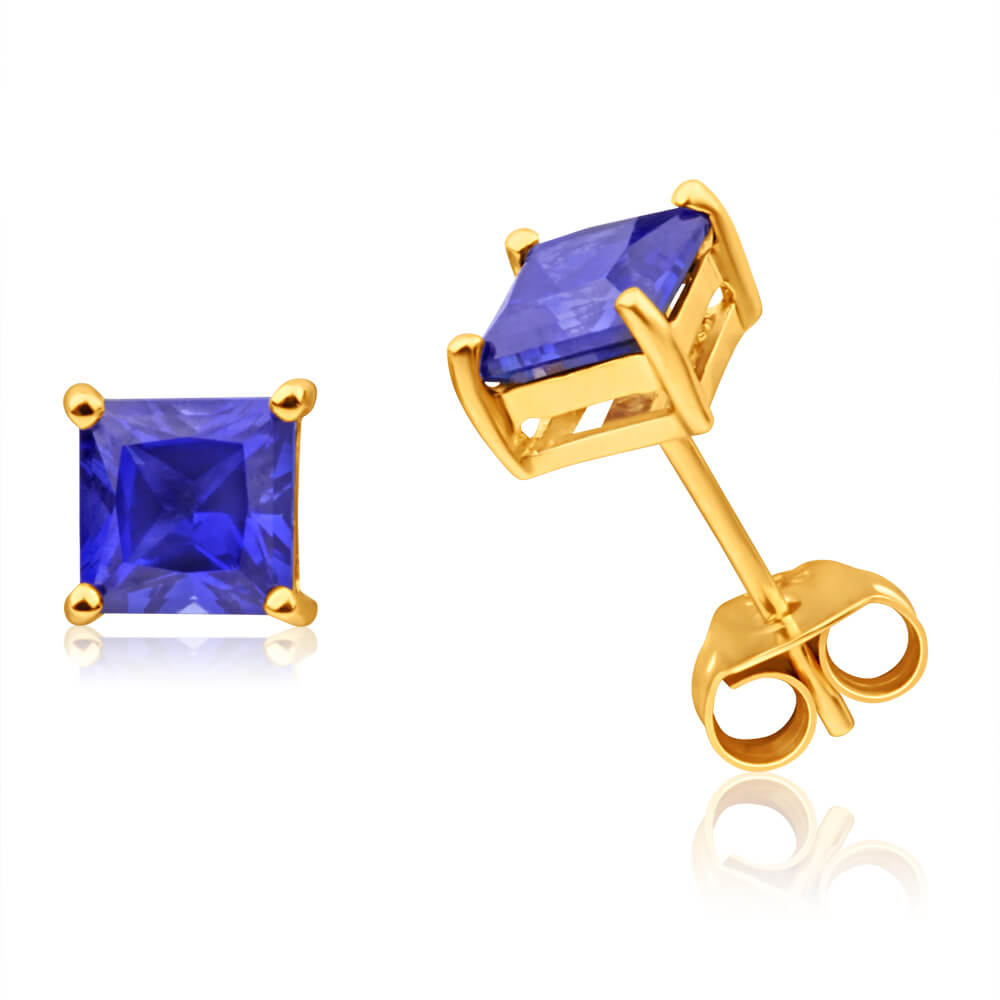9ct Yellow Gold Created Sapphire 5mm Princess Cut Stud Earrings