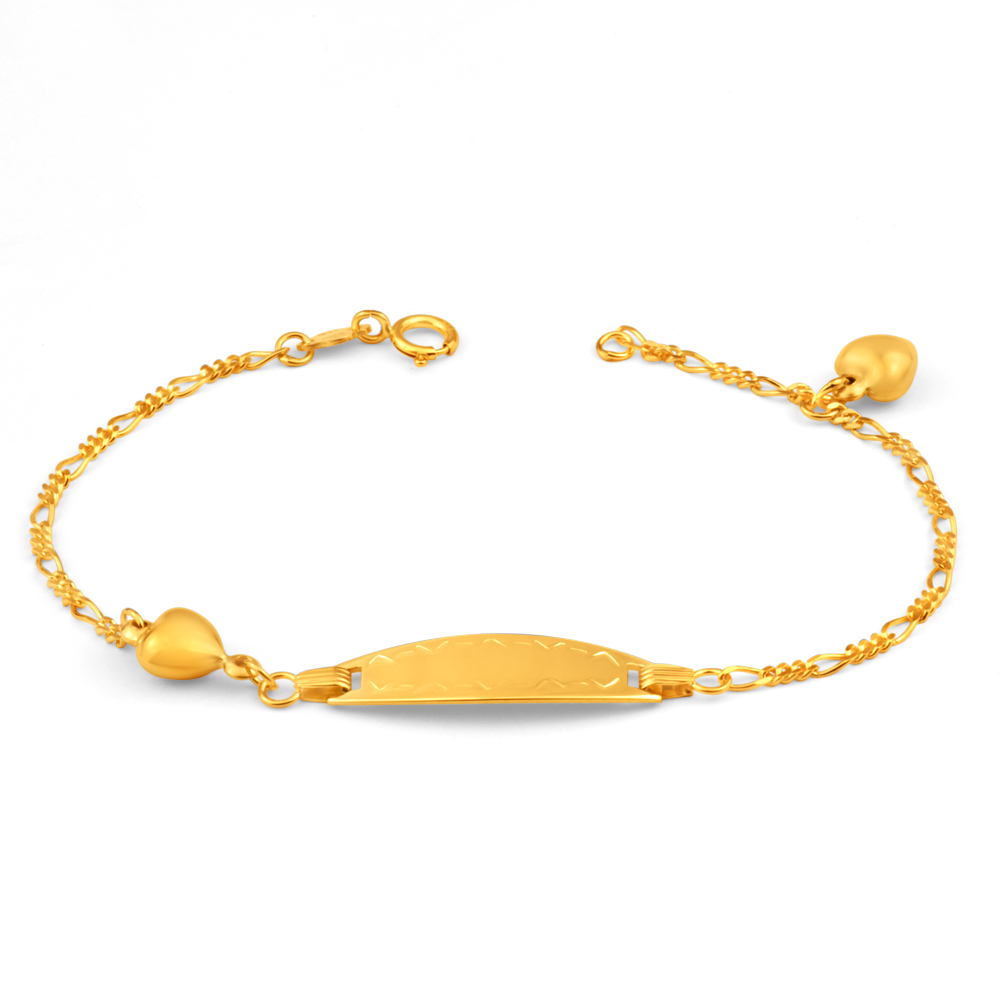 9ct Yellow Gold Figaro 1:3 ID 16cm Bracelet with Heart Charms