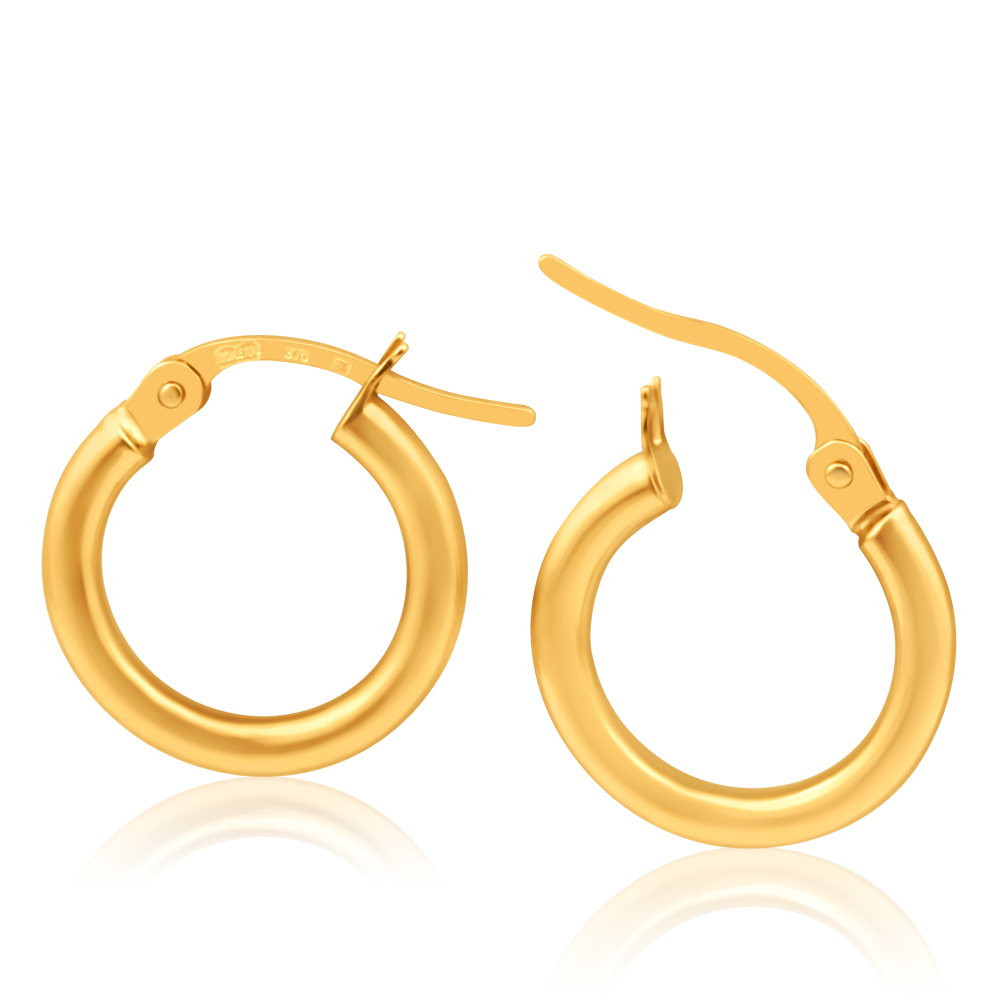 9ct Yellow Gold 10mm Plain Hoop Earrings Italian Made