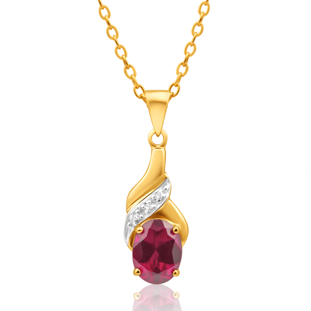 9ct Delightful Yellow Gold Created Ruby 8x6mm + Diamond Pendant