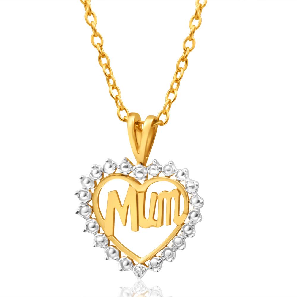 9ct Yellow Gold Mum 1 Diamond Pendant