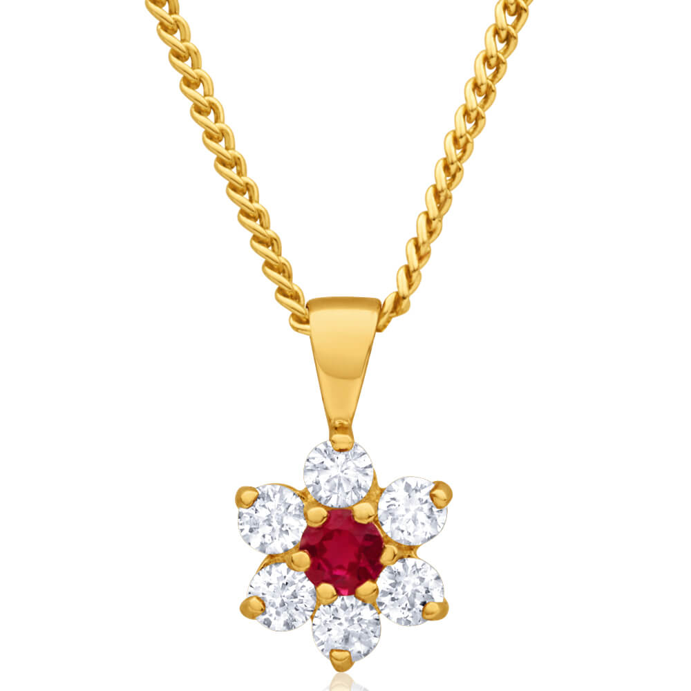 9ct Yellow Gold Created Ruby + Cubic Zirconia Flower Pendant