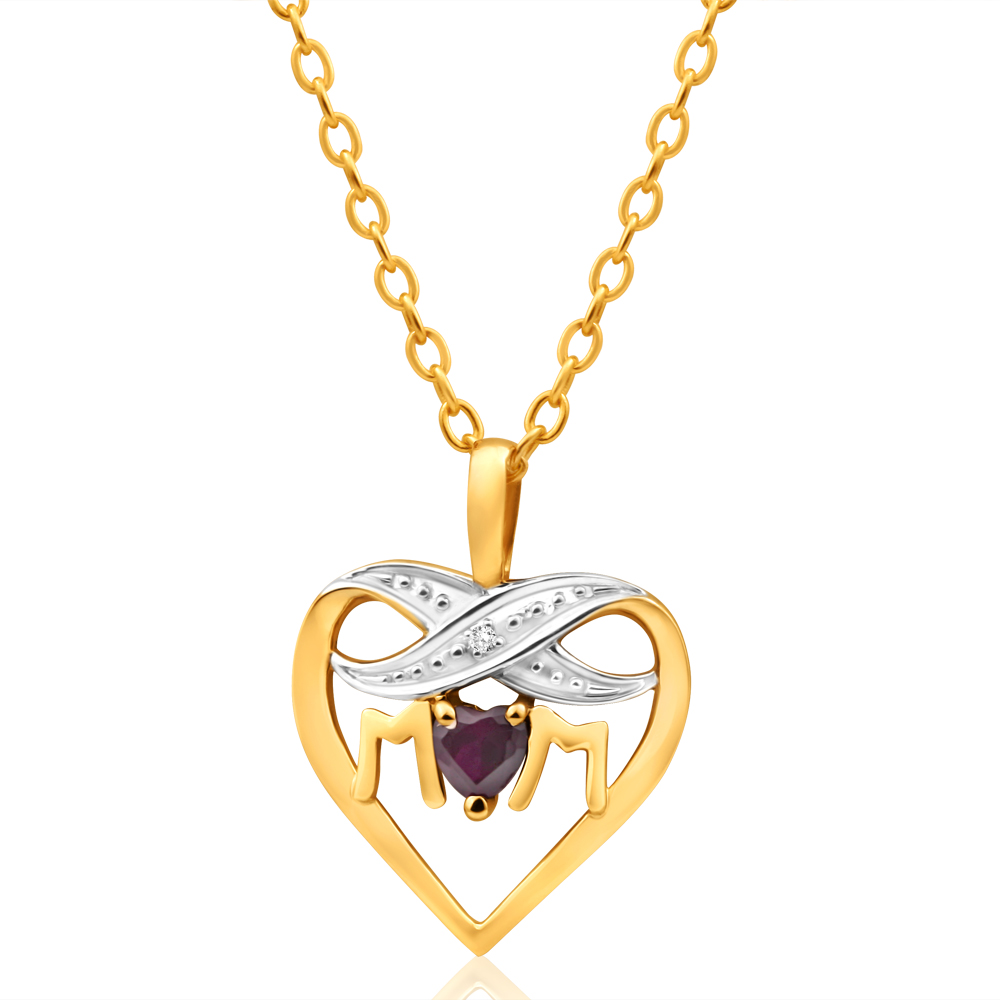 9ct Yellow Gold Enticing Created Ruby + Diamond Pendant