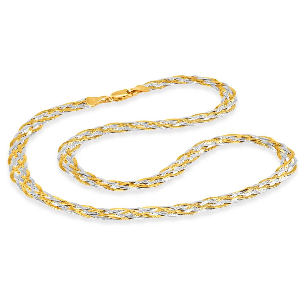 9ct Yellow Gold & White Gold Herringbone Chain