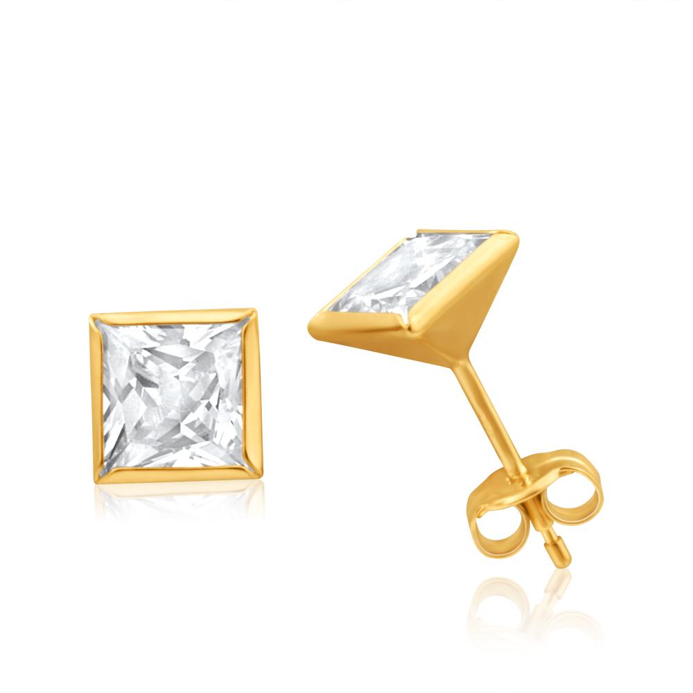9ct Yellow Gold 6mm Princess Cut Cubic Zirconia Stud Earrings