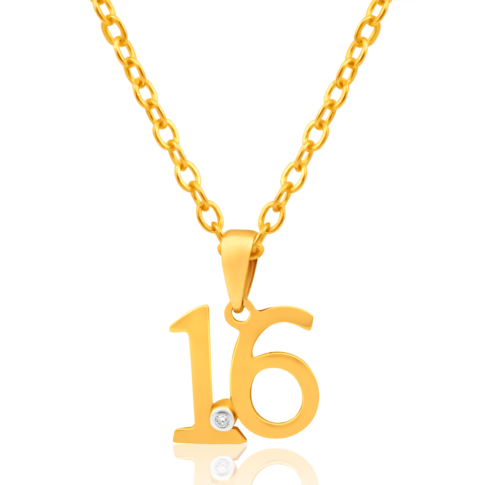 "9ct Yellow Gold ""16"" Pendant Set With 1 Diamond"