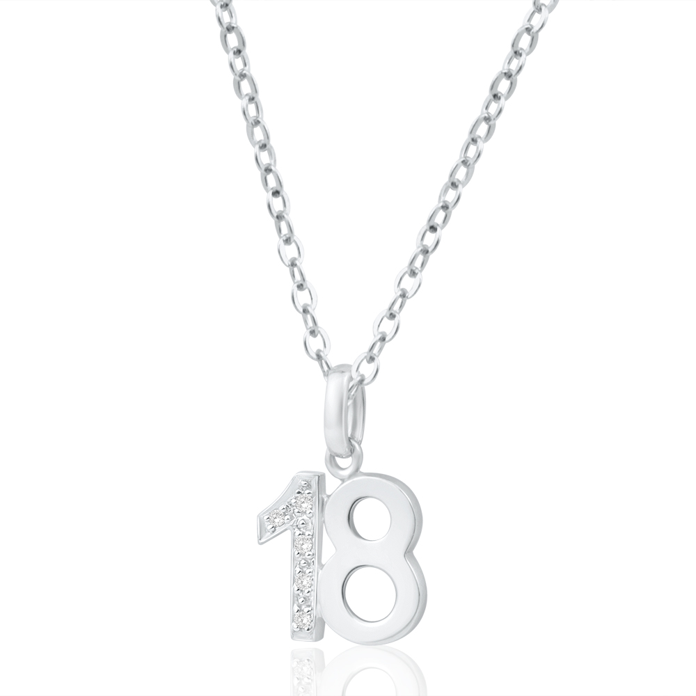 9ct White Gold 18 Pendant with 5 Diamonds