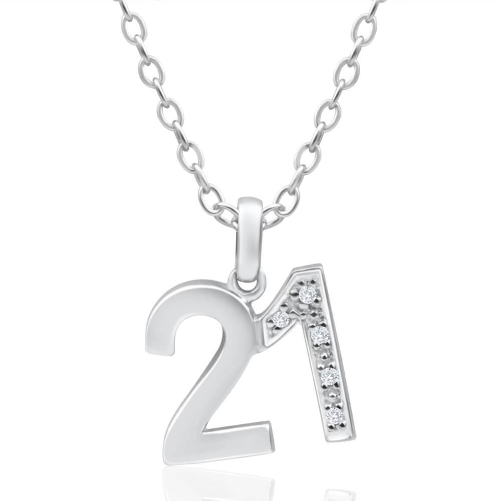 9ct White Gold 21 Pendant with 5 diamonds