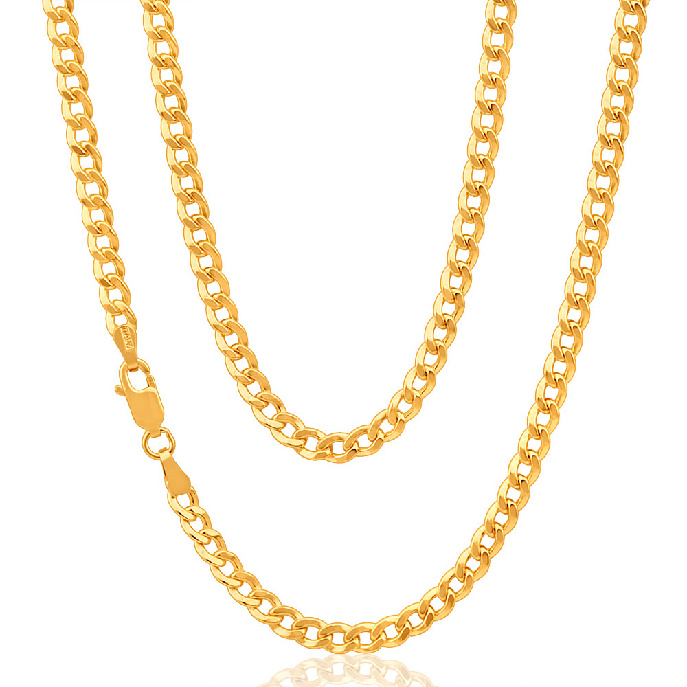9ct Yellow Gold Copper Filled Curb 100 gauge Chain in 45cm