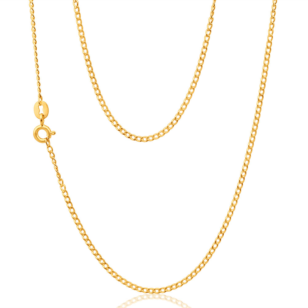 9ct Yellow Gold 40 Gauge Curb 50cm Chain