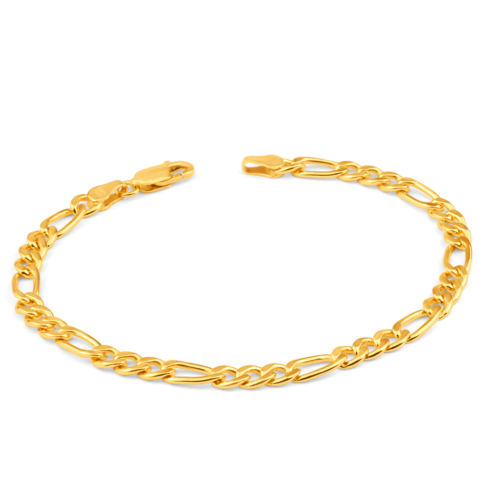 9ct Yellow Gold Copperfilled 19cm Figaro Bracelet 120Gauge