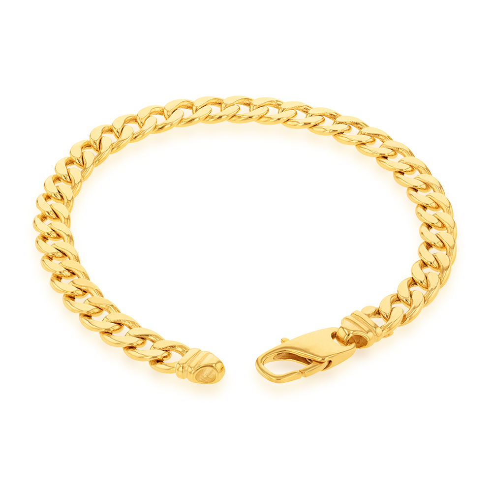 9ct  Yellow Gold Copper Filled Curb 22cm Bracelet 190Gauge