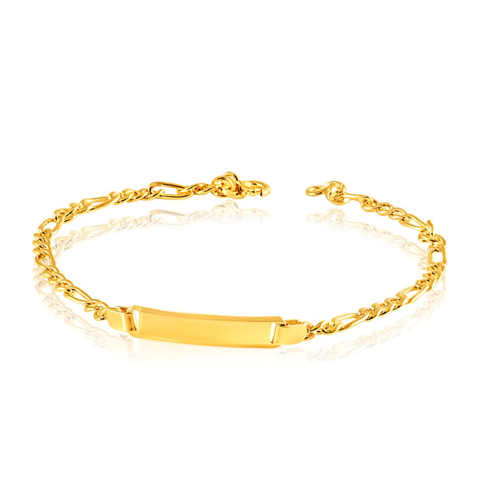 9ct Yellow Gold Silverfilled 19cm Figaro Bracelet 80Gauge
