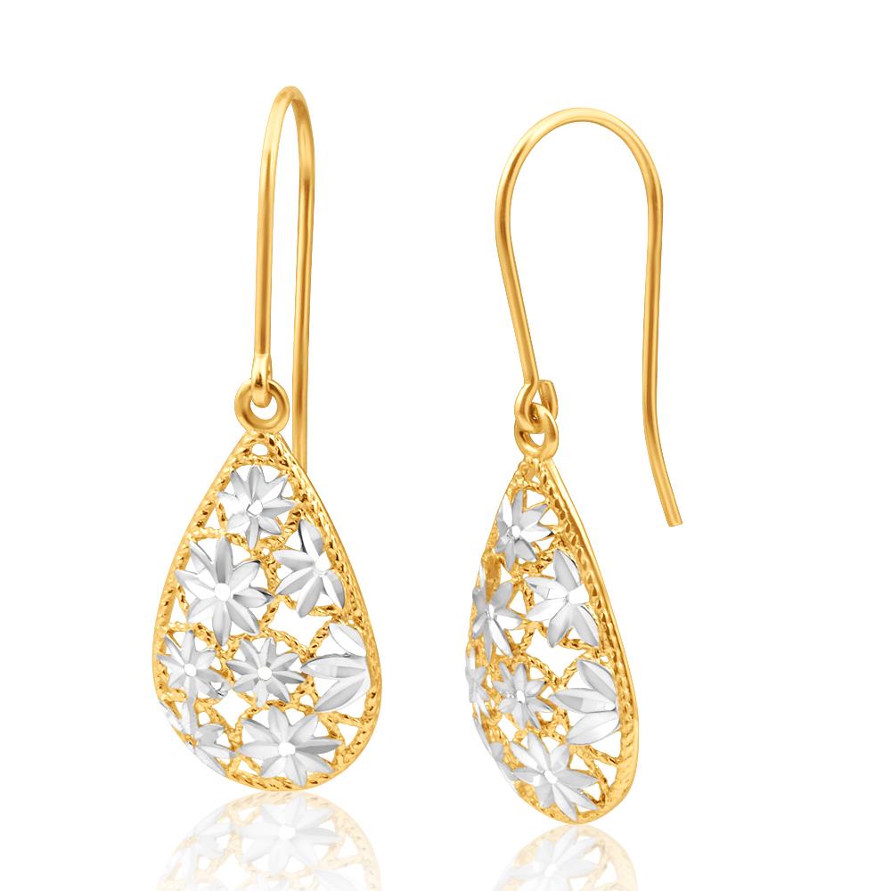 9ct Yellow Gold & White Gold Filigree Flower Tear Drop Earrings